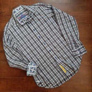 Robert Graham Blue Black Flip Sleeve Shirt Size Sm